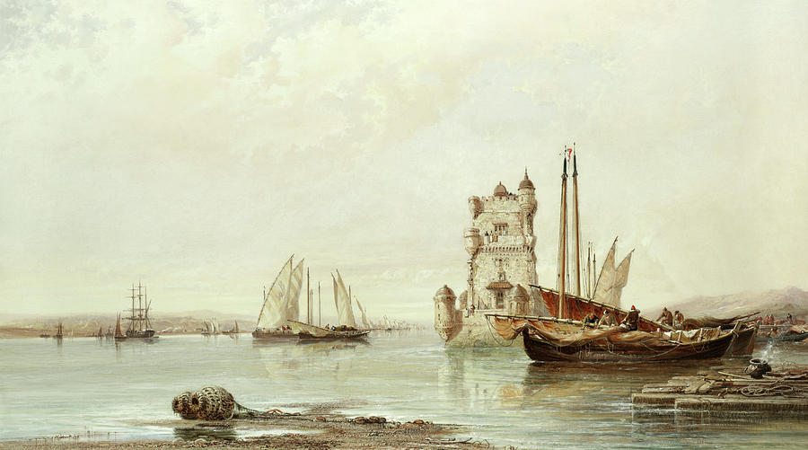 Lisbon Painting - The Mouth Of The Tagus, Lisbon by Arthur Joseph Meadows