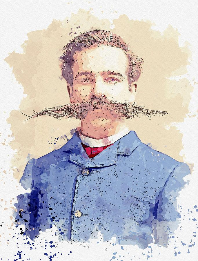 The Mustache 19th century man with extraordinary mustache.   by C.M. Bell of Washington D.C. waterco by Celestial Images