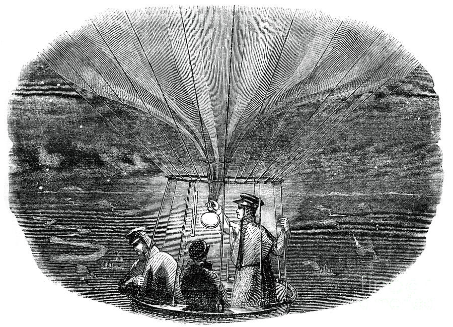 The Nassau Balloon Passing Over Liege Drawing by Print Collector