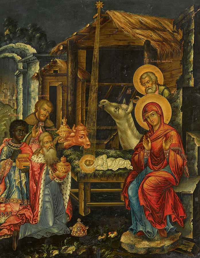 The Nativity Painting - The Nativity, Russia, 1848 by Russian Art