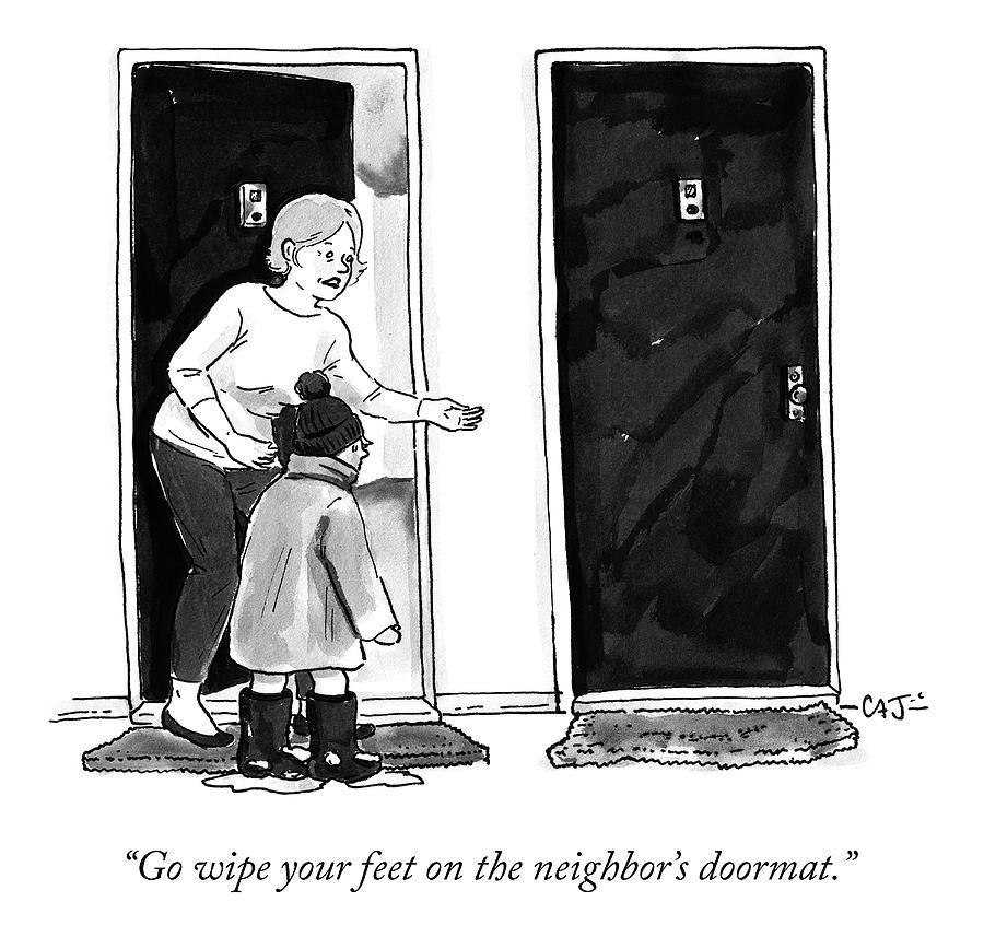 The Neighbors Doormat Drawing by Carolita Johnson