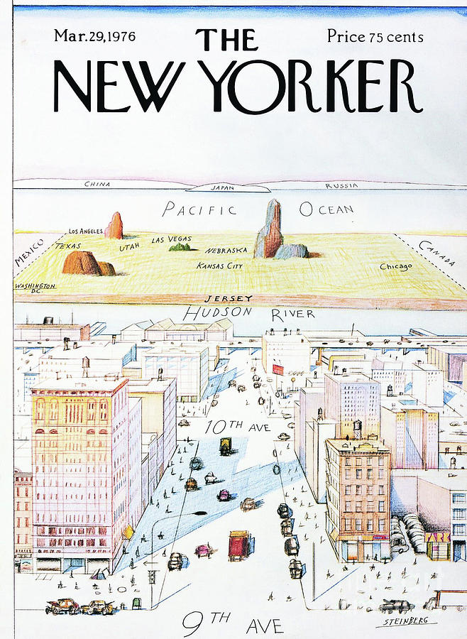 The New Yorker Painting - The New Yorker - March 29, 1976 by Saul Steinberg