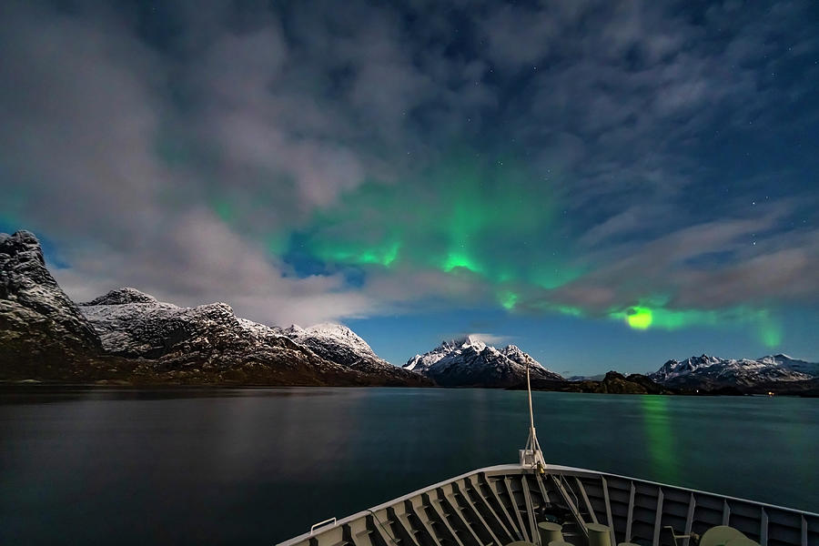 The Northern Lights In The Moonlight by Alan Dyer
