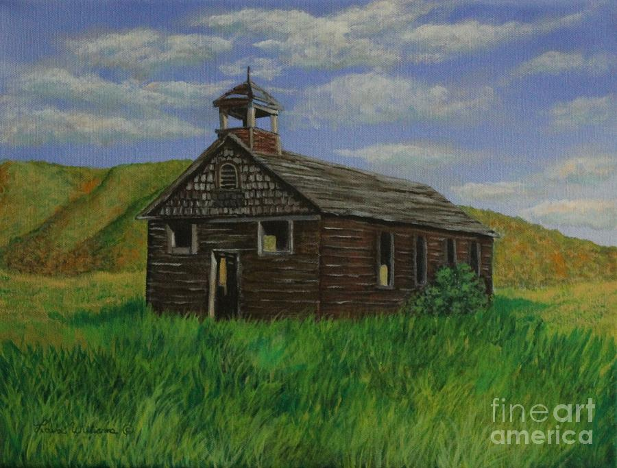 School House Painting - The Old Collins School House by Louise Williams
