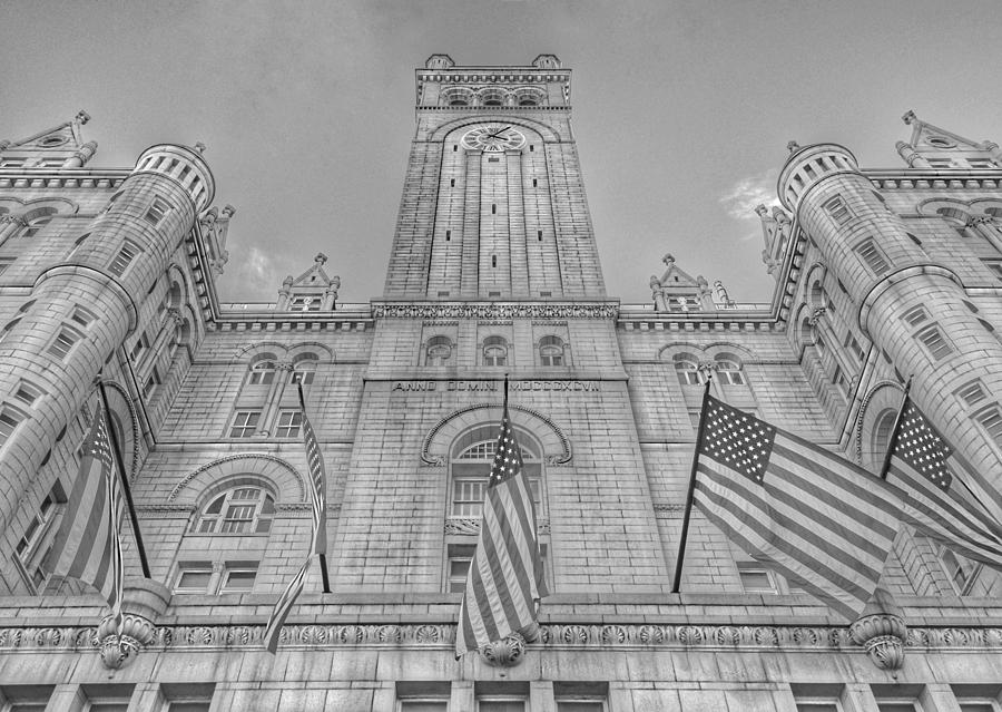 The Old Post Office now Trump International Hotel in Washington D.C. - Black and White by Marianna Mills