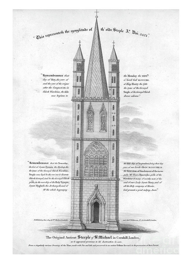 The Original Ancient Steeple Of St Drawing by Print Collector