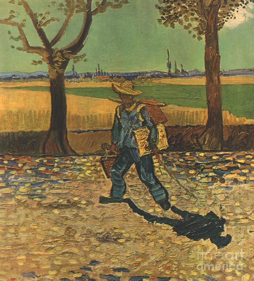The Painter On His Way To Work Drawing by Print Collector