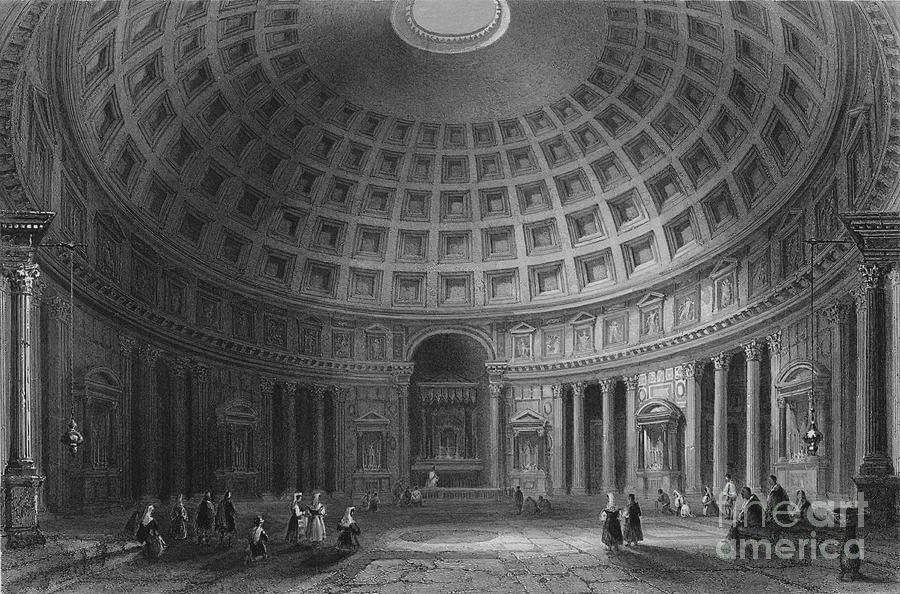 The Pantheon, Rome, 1841 Drawing by Print Collector