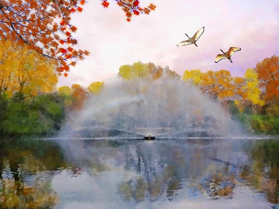The Park Fountain In Autumn  by Sandi OReilly