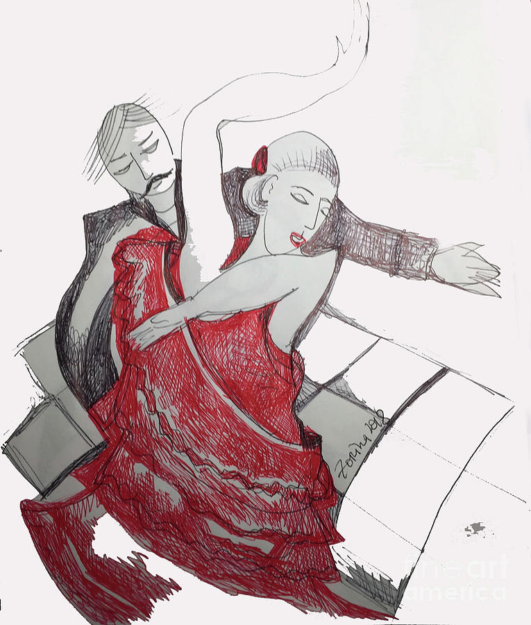 Red Drawing - The Passion by Zorina Kunkina