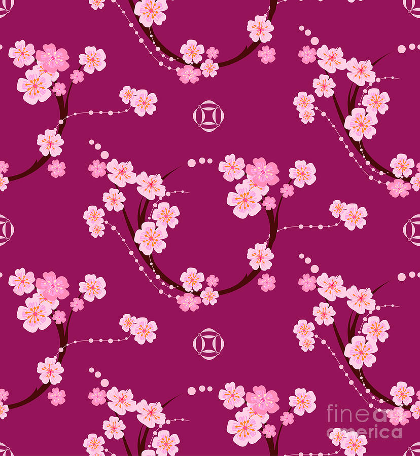 Cherry Digital Art - The Pattern In The Form Of A Circle by Lunokot
