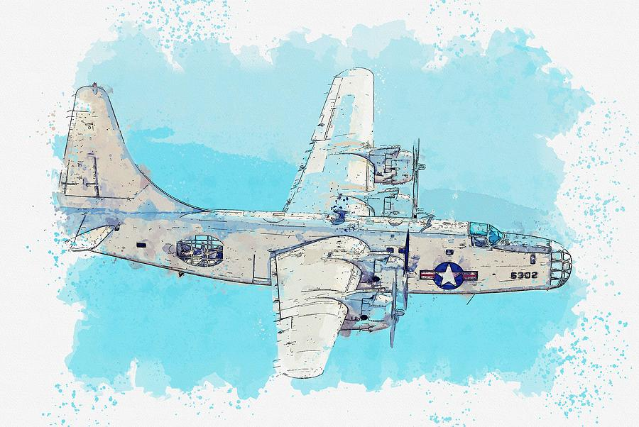 The PB4Y-2 Privateer Rank III American heavy bomber watercolor by Ahmet Asar by Celestial Images