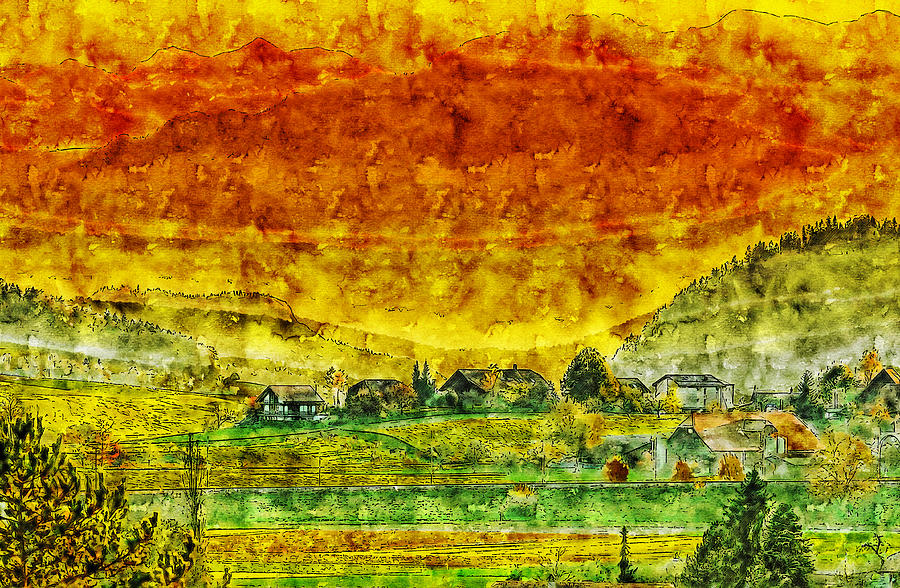 America Drawing - The Peasant Village Watercolor Drawing by Hasan Ahmed