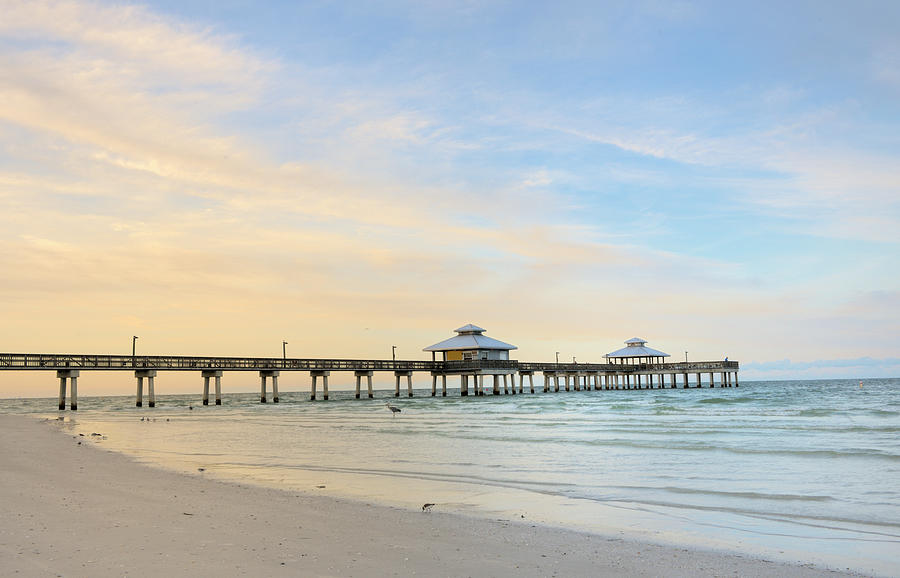 The Pier In Fort Myers At Dawn, Florida Photograph by Pidjoe