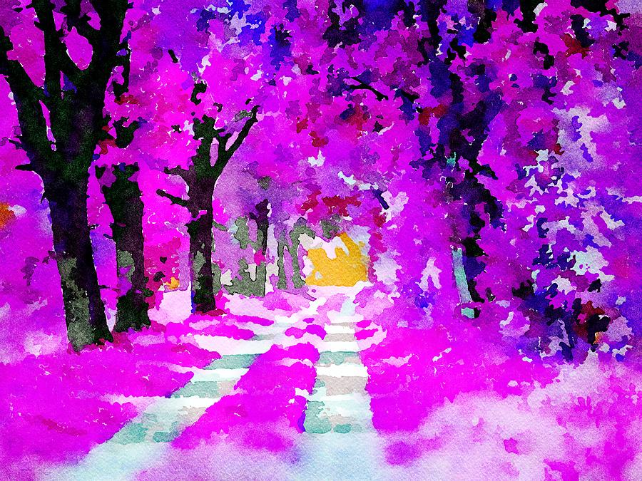 The pink fairytale forest - Watercolor by Patricia Piotrak