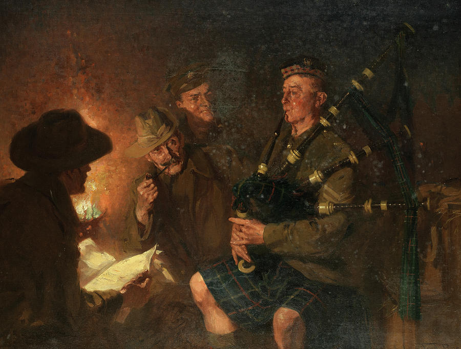 The Pipe Painting - The Pipes By Firelight by Fred Roe