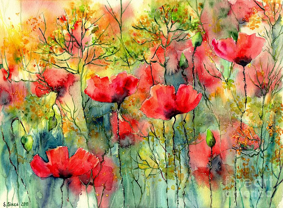 Poppies Painting - The Poppies Grow by Suzann Sines
