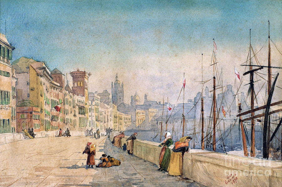 The Port Of Genes, 1878. Artist Jl Drawing by Print Collector