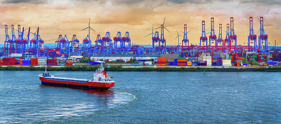 The Port of Hamburg on the Elbe River by Phil Cardamone