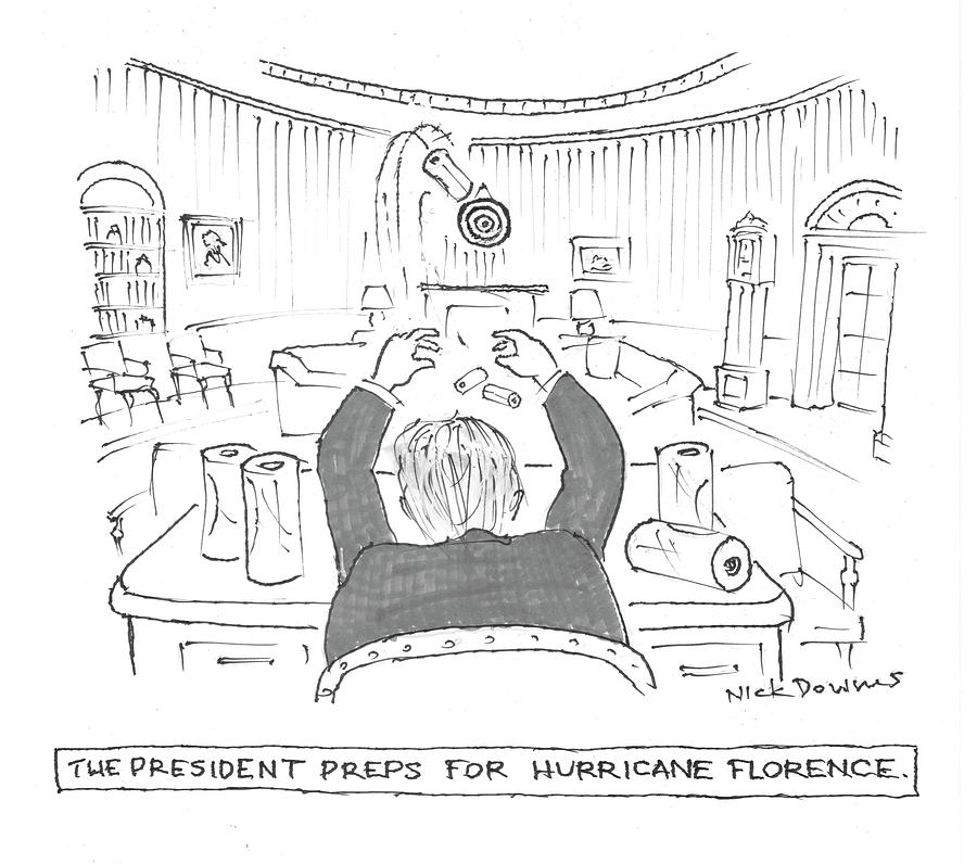 The President Preps For Hurricane Florence Drawing by Nick Downes
