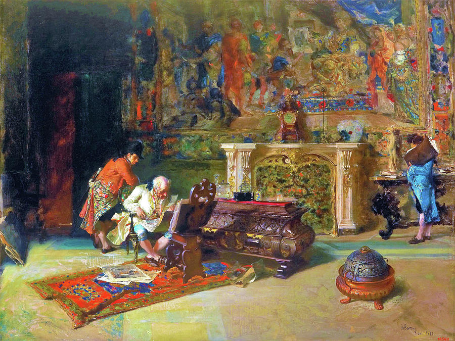 Mariano Fortuny Painting - The Print Collector - Digital Remastered Edition by Mariano Fortuny