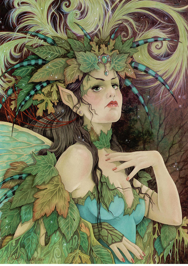 Fairies Painting - The Queen Of Leaves by Linda Ravenscroft