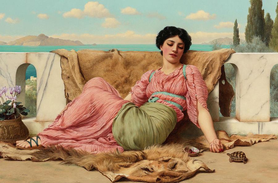 John William Godward Painting - The Quiet Pet, 19th Century by John William Godward