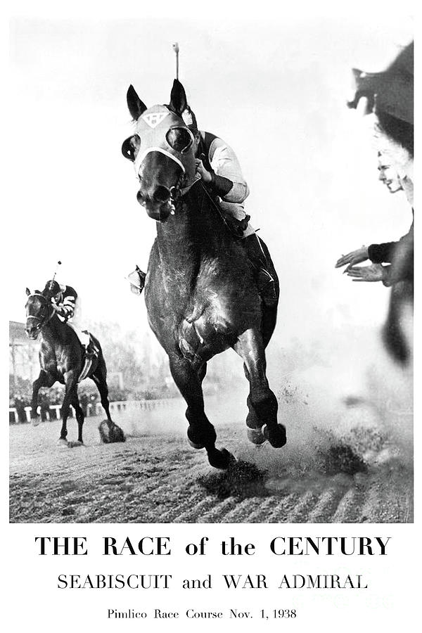 Seabiscuit Mixed Media - The Race Of The Century, Seabiscuit And War Admiral, Pimlico Race Course by Thomas Pollart