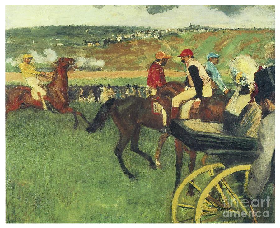 The Race Track  Amateur Jockeys near a Carriage by EDGAR DEGAS