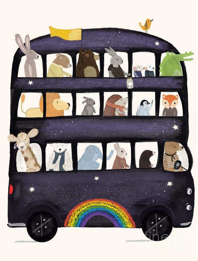 Childrens Painting - The Rainbow Bus by Bri Buckley