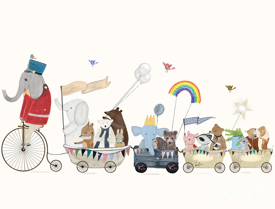 Childrens Painting - The Rainbow Parade by Bri Buckley
