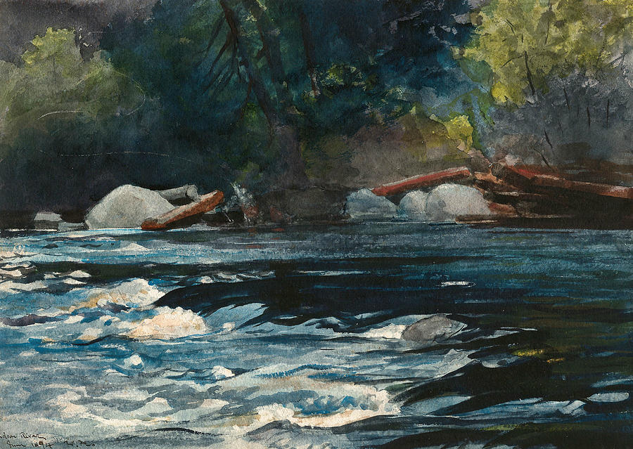 Winslow Homer Drawing - The Rapids, Hudson River, Adirondacks by Winslow Homer