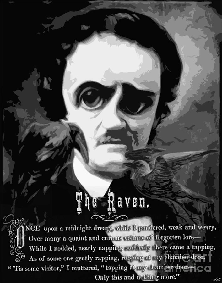 Edgar Allan Poe Digital Art - The Raven Edgar Allan Poe by Kenneth Rougeau