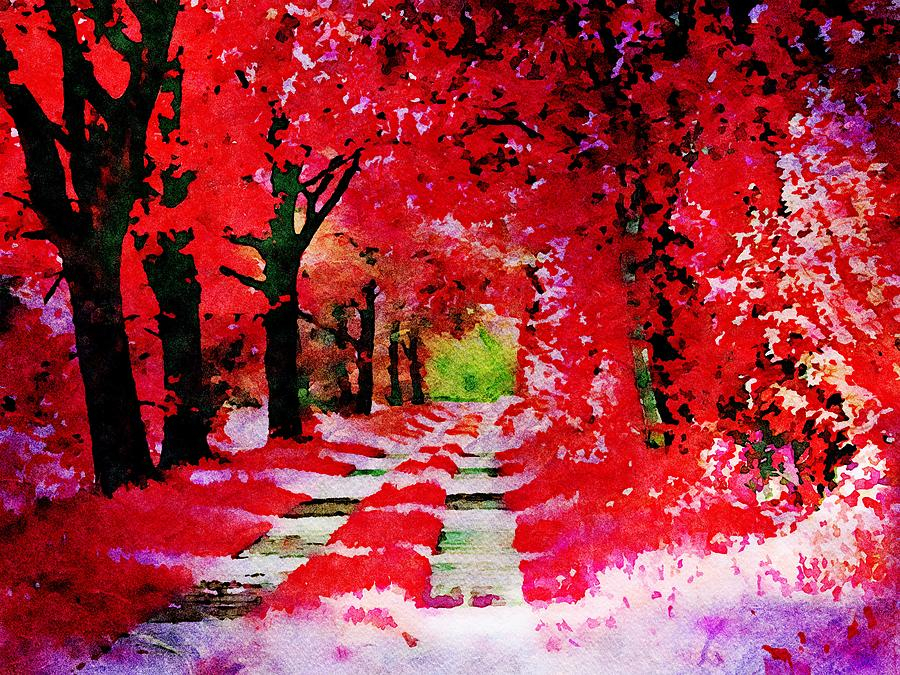 The red autumn forest - Watercolor by Patricia Piotrak