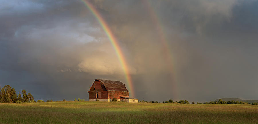 Abandoned Photograph - The Red Barn and a Rainbow by Jakub Sisak
