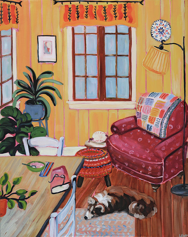 Interior Painting - The Red Chair by Anne Lewis