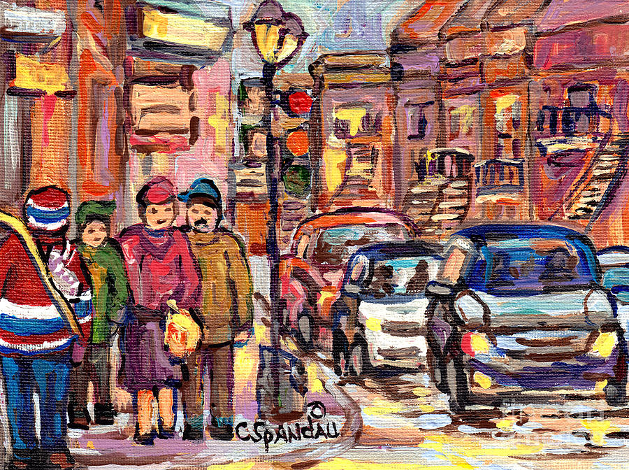 THE RED HOCKEY SWEATER CANADIAN ART CANADIAN ARTIST C SPANDAU VERDUN TO THE PLATEAU STREET SCENES by CAROLE SPANDAU