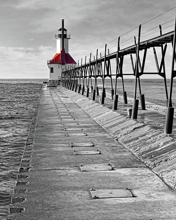 The Red Roofed Lighthouse by Kathi Mirto
