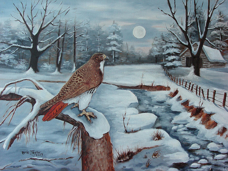Barns Painting - The Red Tailed Hawk by Arie Reinhardt Taylor