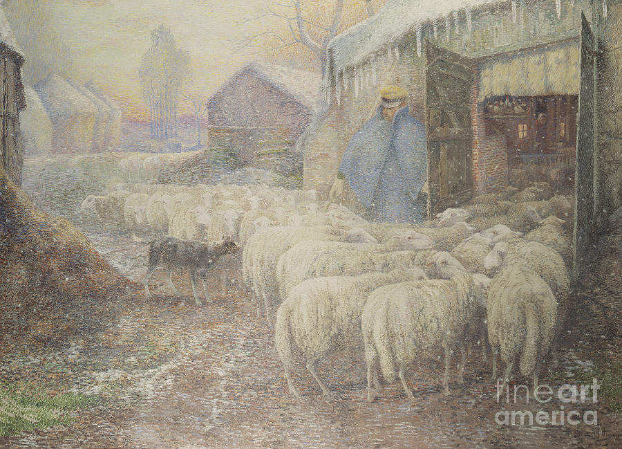 Farm Painting - The Return Of The Shepherd by Adriaan Josef Heymans