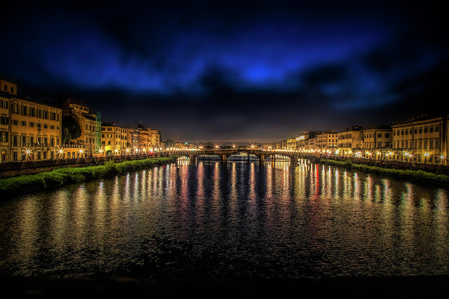 The River Arne at Night, Florence, Italy by Lowell Monke
