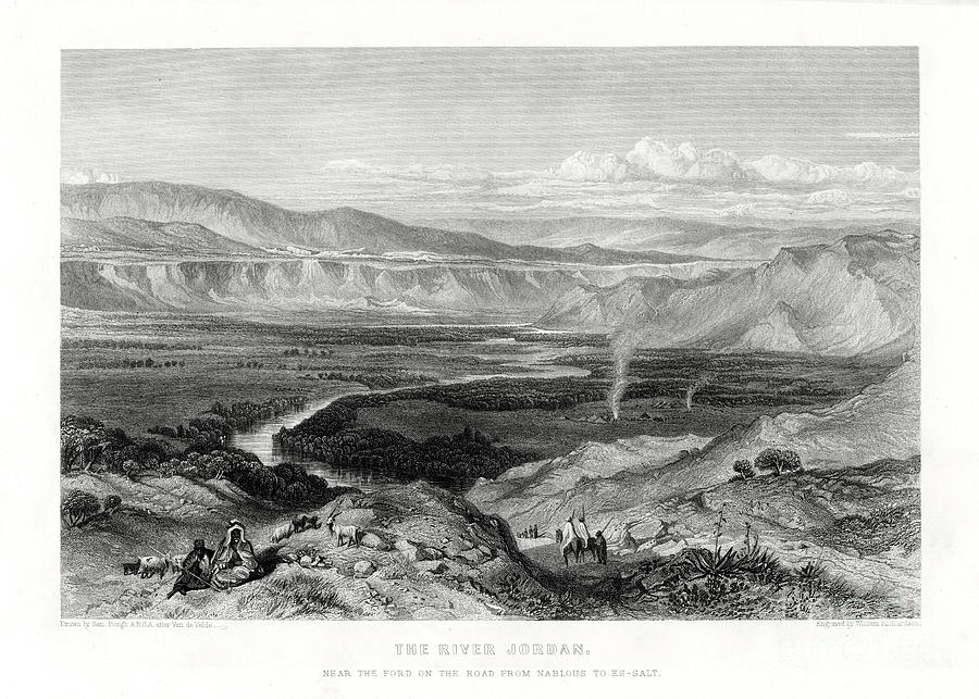 The River Jordan, 1887. Artist William Drawing by Print Collector