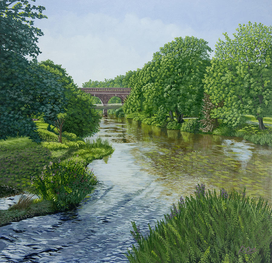 Leatherhead Painting - The River Mole at Leatherhead by Raymond Ore