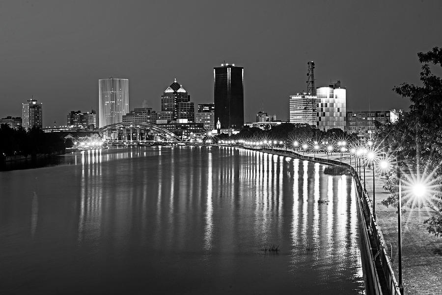 The Rochester Skyline reflecting the the Genesee River Rochester NY Black and White by Toby McGuire