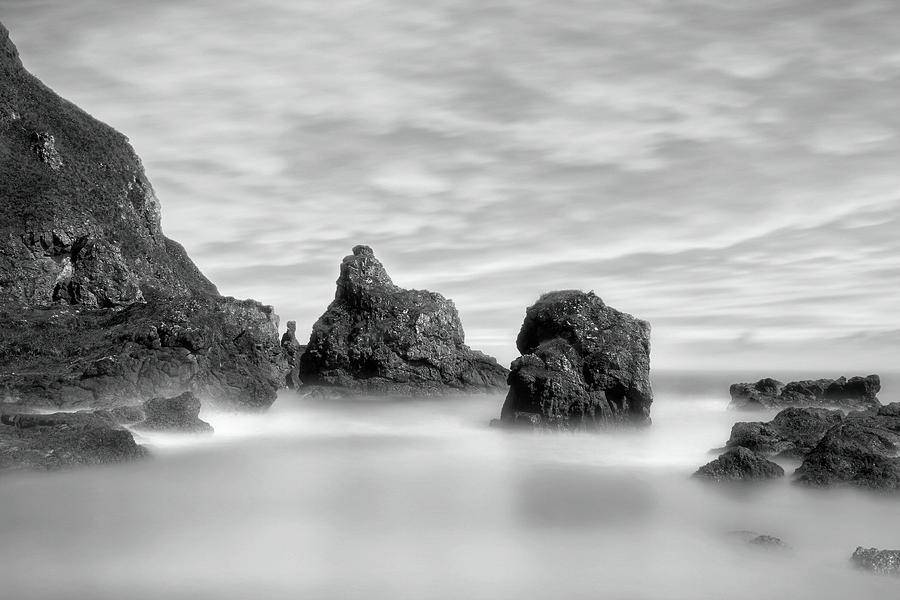 The Rocky Coast of St Cyrus - Scotland - Black and White Seascape by Jason Politte
