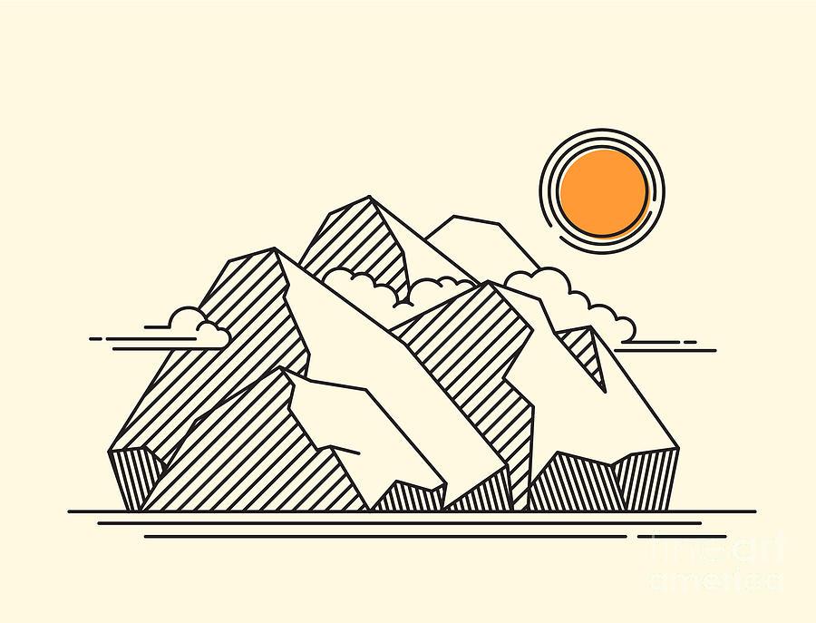 Climbers Digital Art - The Rocky Mountains Landscape - Lineart by Sheveleva Natalia