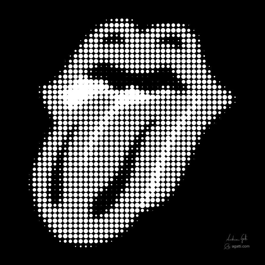 The Rolling Stones halftone white by Andrea Gatti