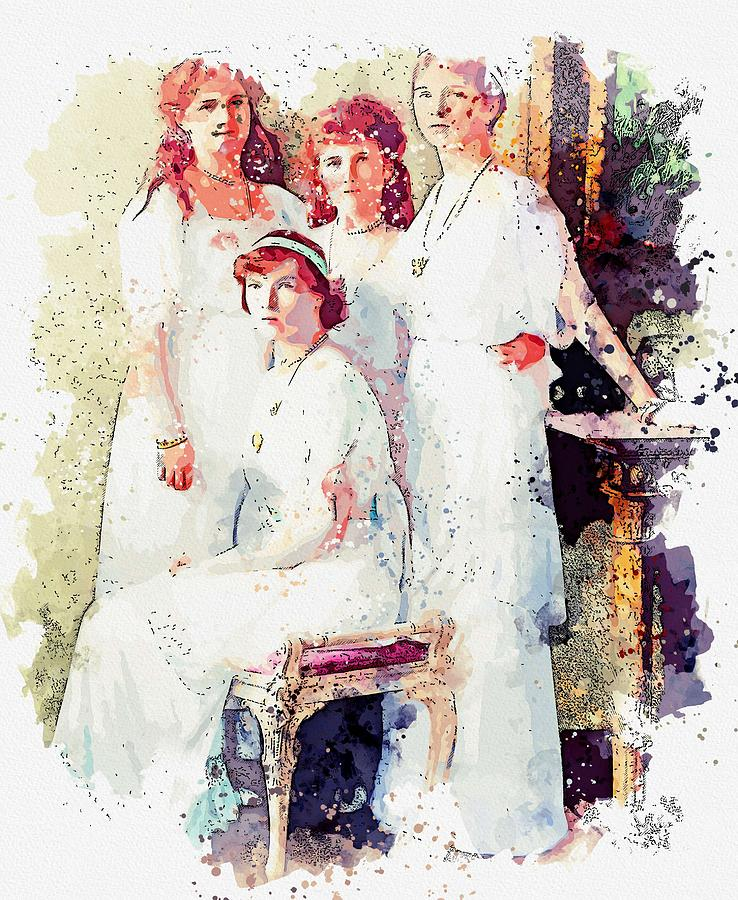 the Romanoff sisters from a group portrait watercolor by Ahmet Asar by Celestial Images