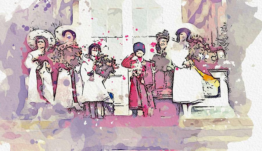 The Romanov children watercolor by Ahmet Asar by Celestial Images