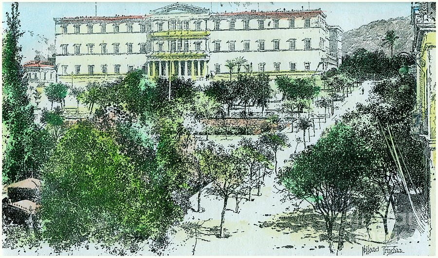 The Royal Palace, Athens, Greece, C1890 Drawing by Print Collector